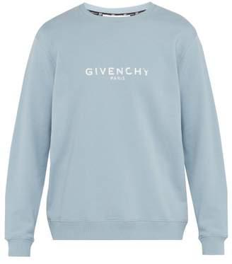 Givenchy Logo Printed Cotton Sweatshirt - Mens - Light Blue