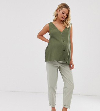 ASOS DESIGN Maternity chino pants with cargo pockets in sage