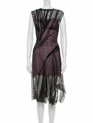 Nina Ricci Lace Pattern Midi Length Dress Black