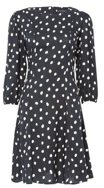 Dorothy Perkins Womens Black Spot Print 3/4 Sleeve Fit And Flare Dress, Black