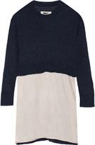 MM6 MAISON MARGIELA Satin-paneled knitted mini dress