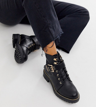 ASOS DESIGN Wide Fit Armour chain lace up ankle boots in black