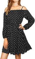 Allegra K Women Cold Shoulder Long Sleeves Floral Bardot Dress XL
