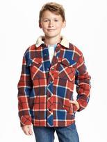 Old Navy Plaid Sherpa-Collar Fleece Jacket for Boys