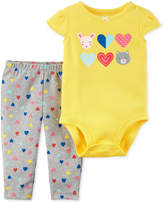 Carter's 2-Pc. Cotton Hearts Bodysuit & Heart-Print Pants Set, Baby Girls