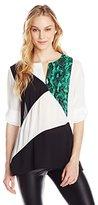 Calvin Klein Women's Print-Block Roll-Sleeve Top