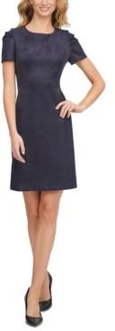Calvin Klein Scuba-Crepe Faux-Suede A-Line Dress