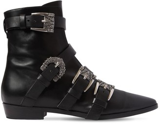 Etro 20MM BUCKLED LEATHER ANKLE BOOTS