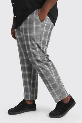 boohoo Mens Grey Plus Size Slim Cropped Check Chain Trouser, Grey