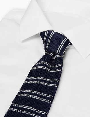 Marks and Spencer Skinny Square End Striped Knitted Tie