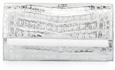 Nancy Gonzalez Crocodile Front-Flap Bar Clutch Bag, Silver Wash White