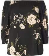 Dorothy Perkins DP Curve Black Oriental Floral Top