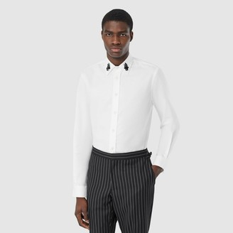 Burberry Classic Fit Crystal Detail Cotton Oxford Dress Shirt