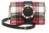 Miu Miu Jeweled Plaid Wool Crossbody/Belt Bag