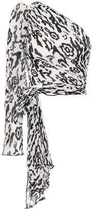 Self-Portrait Leopard-print plisse chiffon top