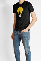 Fendi Cotton T-Shirt with Fur and Sheepskin