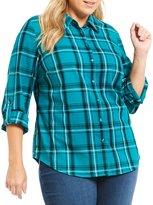 Allison Daley Plus Long Roll-Tab Sleeve Windowpane Plaid Button Front Shirt