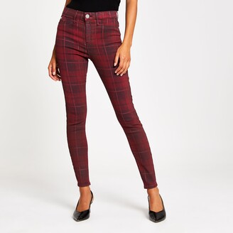 River Island Womens Red tartan coated Molly mid rise jegging