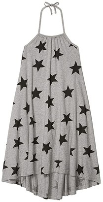 Nununu Star Collar Dress (Little Kids/Big Kids) (Heather Grey) Girl's Clothing