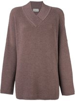 Lanvin oversize v-neck jumper - women - Wool/Yak - 42