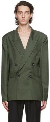 Winnie New York Green Wool Double-Breasted Blazer