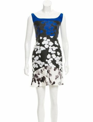 Narciso Rodriguez Jacquard Contrast Dress Blue