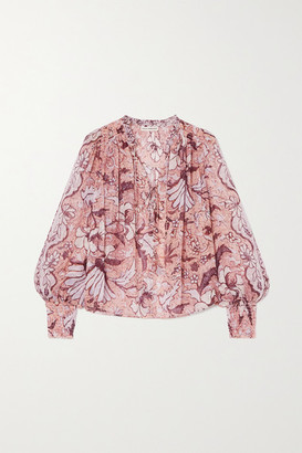 Ulla Johnson Anita Floral-print Fil Coupe Silk And Lurex-blend Blouse - Blush