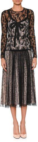 Bottega Veneta Long-Sleeve Round-Neck Allover Lace Dress w/ Bow Detail & Contrast Lining