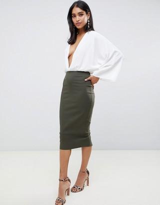 Asos Design DESIGN high waist longerline pencil skirt-Green