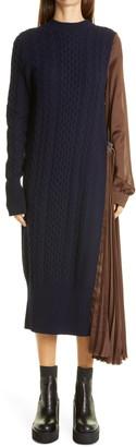 Sacai Long Sleeve Mixed Media Dress