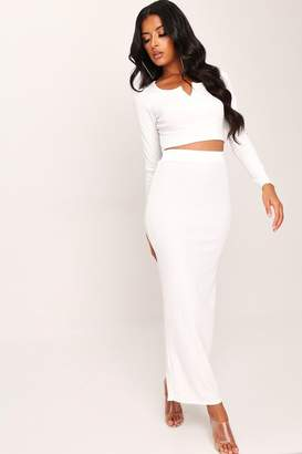I SAW IT FIRST White Ribbed Maxi Skirt