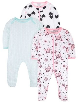 N. Little Star Organic Baby Girl Pure Organic Sleep 'N Play Pajamas, 3-Pack