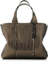 Jimmy Choo LOCKETT SHOPPER Ebony Metallic Grainy Leather Tote Bag