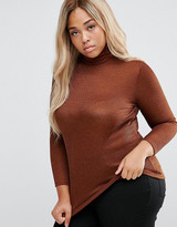 New Look Plus New Look Curve Metallic Rib Roll Neck Top