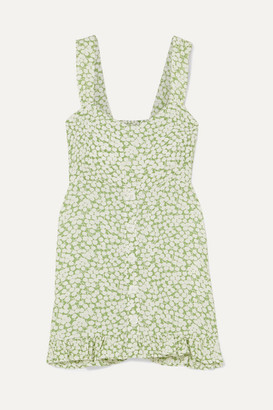 Faithfull The Brand Lou Lou Ruffled Floral-print Crepe Mini Dress - Light green