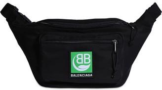 Balenciaga Green Logo Embroidery Nylon Belt Bag