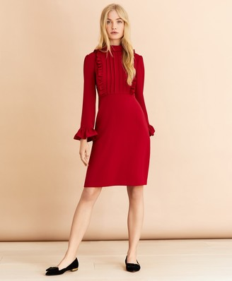 Brooks Brothers Crepe Ruffle-Trimmed Dress
