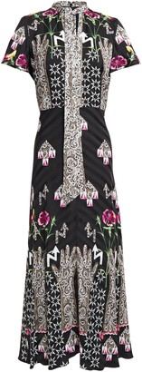 Temperley London Flux Pussy-bow Printed Satin-jacquard Midi Dress