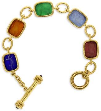 Elizabeth Locke Venetian Glass Intaglio Jewel Tone 'Antique Animals' 19K Gold Bracelet