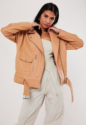 Missguided Peach Faux Leather Boyfriend Biker Jacket