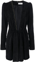 Saint Laurent plunge mini dress - women - Silk/Lamb Nubuck Leather/zamac - 36