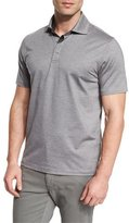 Ermenegildo Zegna Stretch-Cotton Polo Shirt, Grey/Navy