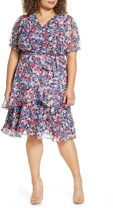 Tahari Floral Clip Dot Faux Wrap Dress