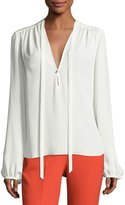 Theory Bernetta Classic Georgette Blouse, Ivory