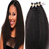 LUFFYWIG Human Hair I Tip Hair Extensions Kinky Straight I Tips 1g/Strand 100 Strand Handmade Hair Extensions 22 Inch