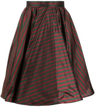 Gucci Pre Owned 1990s Stripe Print Silk Skirt