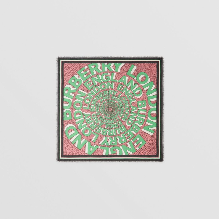 Burberry Logo Print Silk Wool Large Square Scarf