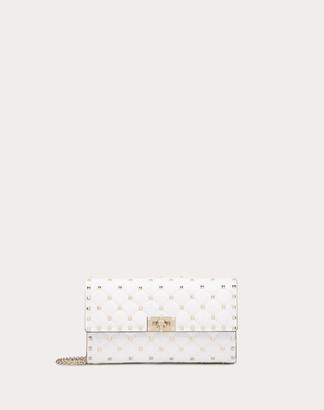 Valentino Rockstud Spike Nappa Leather Crossbody Clutch Bag Women Optic White Lambskin 100% OneSize