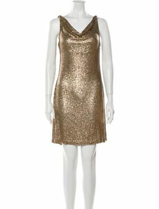 Naeem Khan Cowl Neck Mini Dress Gold