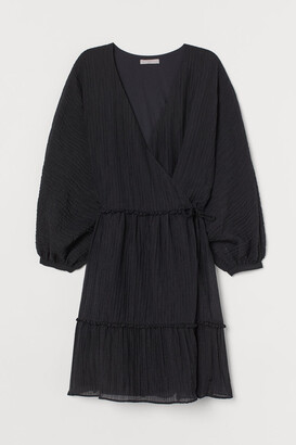 H&M Lyocell-blend Wrap Dress - Black